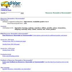 Resources- Renewable or Nonrenewable?