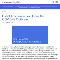 List of Arts Resources During the COVID-19 Outbreak