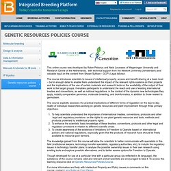 Genetic Resources Policies Course