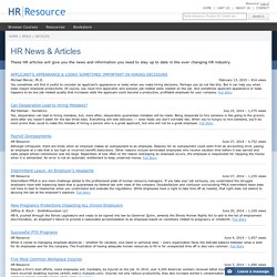 Human Resources Articles for HR Professionals