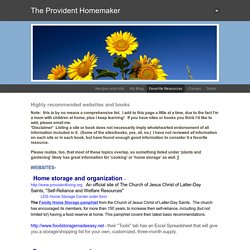 Favorite Resources - The Provident Homemaker