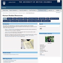 Home - Korean Studies Resources - Research Guides Home at University of British Columbia