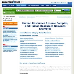 Human Resources Resume Samples, Human Resources Resumes Examples - ResumeBucket.com
