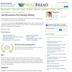 190 Resources For Saving Money