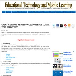 Great Web Tools and Resources for End of School Year Activitivies