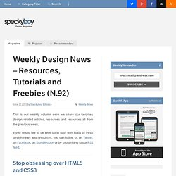Weekly Design News – Resources, Tutorials and Freebies (N.92)