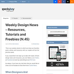 Weekly Design News – Resources, Tutorials and Freebies (N.45) :Speckyboy Design Magazine