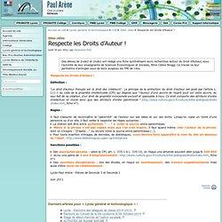 Respecte les Droits d'Auteur ! - Cité scolaire Paul Arène à Sisteron