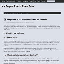 Respecter la loi européenne sur les cookies - Les Pages Perso Chez Free