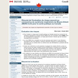 ASPC 04/12/13 Résumé de l'évaluation du risque associé au coronavirus du syndrome respiratoire du Moyen-Orient (MERS-CoV) pour la santé publique au Canada