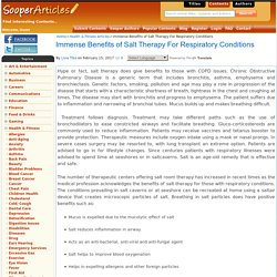 Immense Benefits of Salt Therapy For Respiratory Conditions