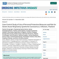 Early Release - Case-Control Study of Use of Personal Protective Measures and Risk for Severe Acute Respiratory Syndrome Coronavirus 2 Infection, Thailand - Volume 26, Number 11—November 2020