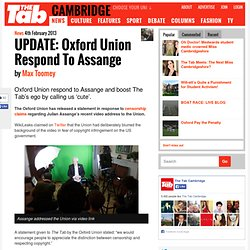 UPDATE: Oxford Union Respond To Assange
