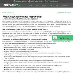 Fixed imap.bell.net not responding - Online customer Assistance