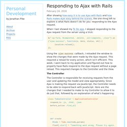 Responding to Ajax with Rails - Personal Development
