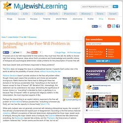 Responding to the Free Will Problem in Judaism
