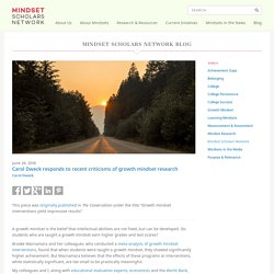 Carol Dweck responds to recent criticisms of growth mindset research - Mindset Scholars Network