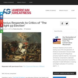 "Decius Responds to Critics of ""The Flight 93 Election"" - American Greatness"