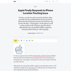 Apple Finally Responds to iPhone Location Tracking Issue