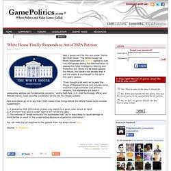 White House Finally Responds to Anti-CISPA Petition