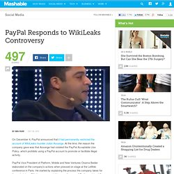 PayPal Responds to WikiLeaks Controversy