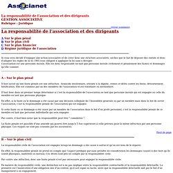 LA RESPONSABILITÉ DE L'ASSOCIATION ET DES DIRIGEANTS