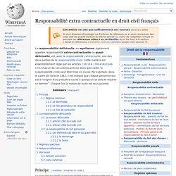 Responsabilité extra contractuelle en droit civil français