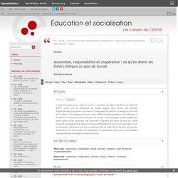 Autonomie, responsabilité et coopération: ce qu'en disent les élèves utilisant un plan de travail