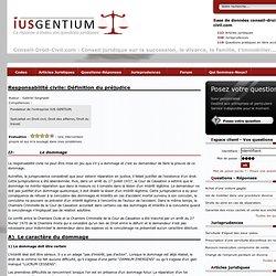 Responsabilité civile: Définition du préjudice - page 1 - droit civil - Ius Gentium