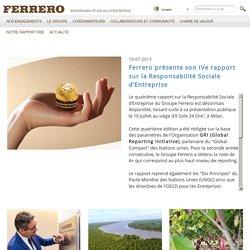 Ferrero présente son IVe rapport sur la Responsabilité Sociale d'Entreprise