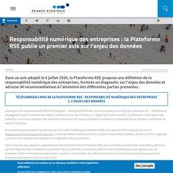 Responsabilité numérique des entreprises : la Plateforme RSE publie un premier avis sur l'enjeu des données