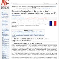 Responsabilité pénale des dirigeants et des personnes morales et organisation de l'entreprise (fr)