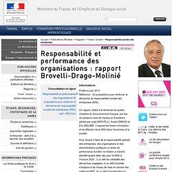 Responsabilité et performance des organisations : rapport Brovelli-Drago-Molinié