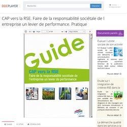 ⭐CAP vers la RSE. Faire de la responsabilité sociétale de l entreprise un levier de performance. Pratique