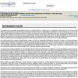MEMOIRE ONLINE - L'émergence de la responsabilité sociale des entreprises en Afrique : état des lieux, enjeux et perspectives