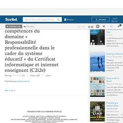 Un QCM pour la certification des compétences du domaine « Responsabilité professionnelle dans le cadre du système éducatif » du Certificat informatique et internet enseignant (C2i2e)
