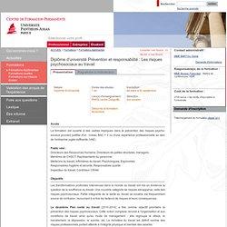 Centre de Formation Permanente - Diplôme d'université Prévention et responsabilités : Les risques psychosociaux au travail
