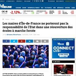 Les maires d'Île-de-France ne porteront pas la responsabilité de l'Etat dans une réouverture des écoles à marche forcée