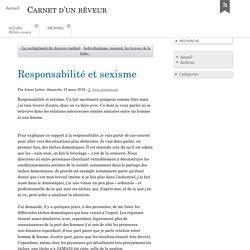 Responsabilité et sexisme - Carnet d'un rêveur