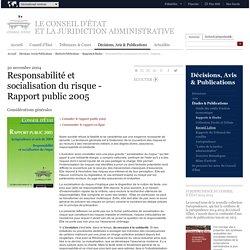 Responsabilité et socialisation du risque - Rapport public 2005