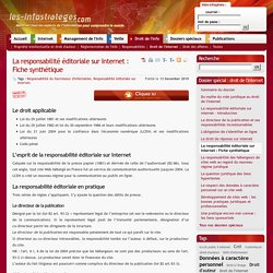 La responsabilité éditoriale sur Internet : Fiche synthétique