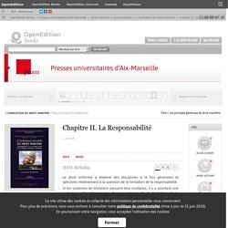 L'unification du droit maritime - Chapitre II. La Responsabilité - Presses universitaires d'Aix-Marseille