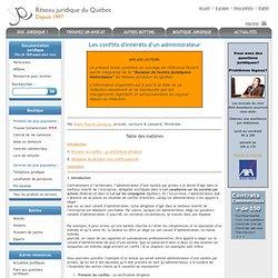 Le réseau juridique du Québec : Les devoirs et responsabilités d'un administrateur