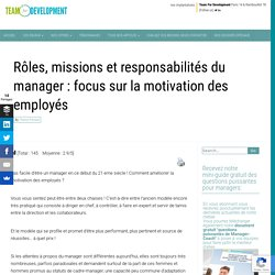 Rôles, missions et responsabilités du manager : focus sur la motivation des employés développement du capital humain, développer la performance, Management Motivant, Motivation au travail, Motivation d'équipe, motivation des employés