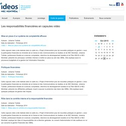 IDEOS – Les responsabilités financières en capsules vidéo
