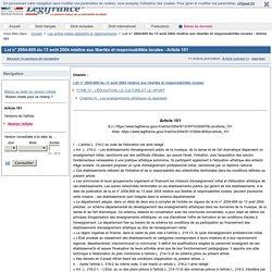 Loi n° 2004-809 du 13 août 2004 relative aux libertés et responsabilités locales - Article 101