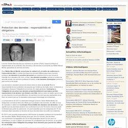 Protection des données : responsabilités et obligations