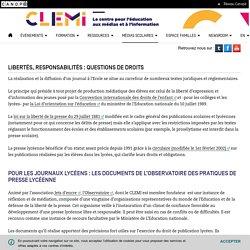 Libertés, responsabilités : questions de droits- CLEMI
