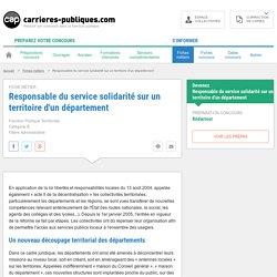 Responsable du service solidarité sur un territoire d'un département - ficher métier - Carrières Publiques
