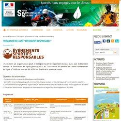 """Formation en ligne """"Evènement responsable"""" - Sport et développement durable"""